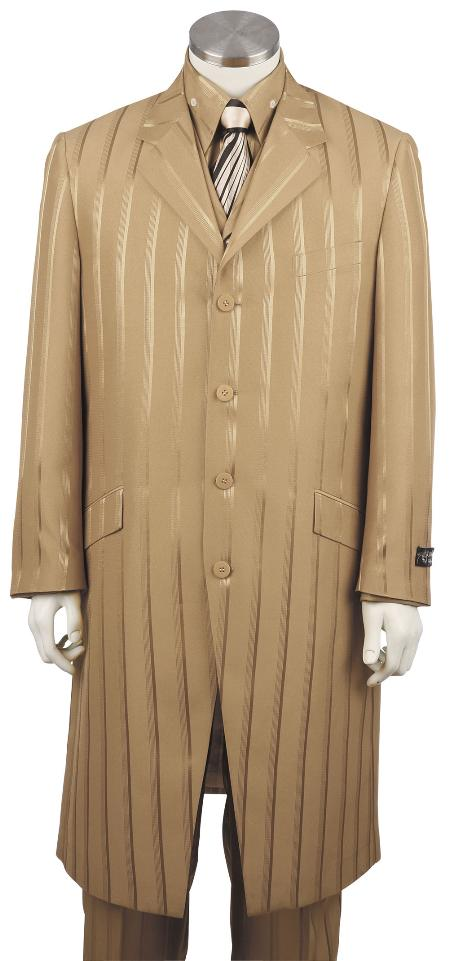 SKU#XH5183 Mens Fashionable 3 Piece Long Zoot Suit Taupe $175