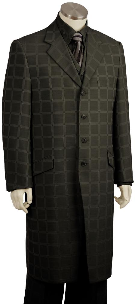 SKU#GY8091 Mens Stylish Black Checked Pinstripe Long Zoot Suit $225