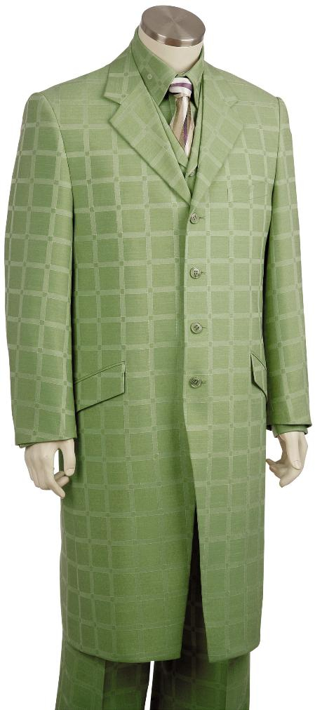 SKU#LF2078 Mens Luxurious 3 Piece Long Zoot Suit Olive $225