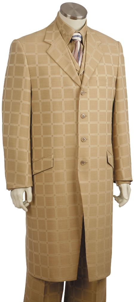SKU#OY7625 Mens 3 Piece Long Zoot Suit Taupe $225
