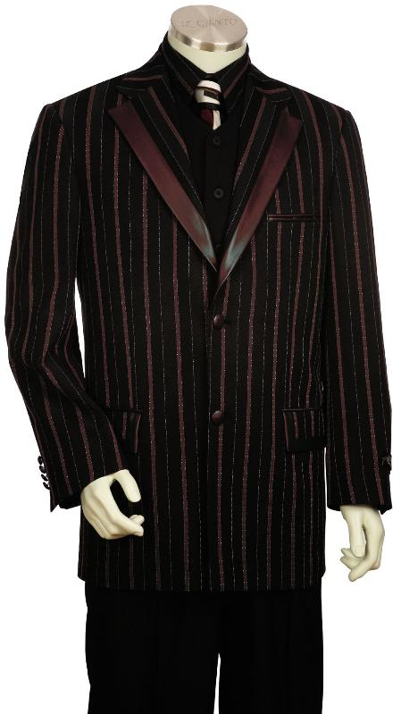 SKU#JD5180 Mens Luxurious 3 Piece Fashion Unique Tuxedo Black Wine