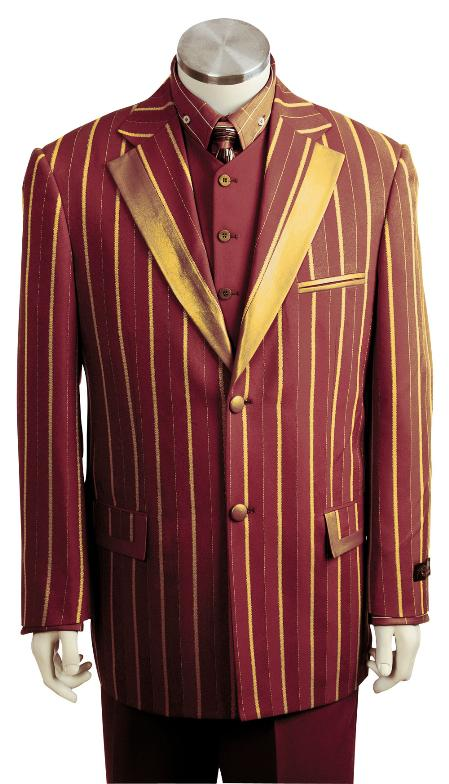 SKU#MG6729 Mens Stylish Rasin Gold 3 Piece Zoot Suit $175