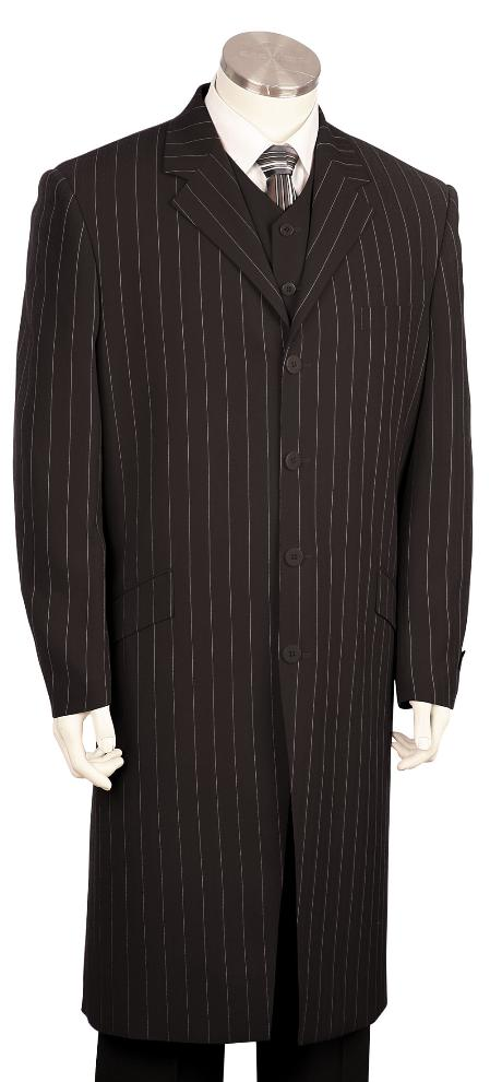 SKU#HY6781 Mens Black Pinstripe Long Zoot Suit $225