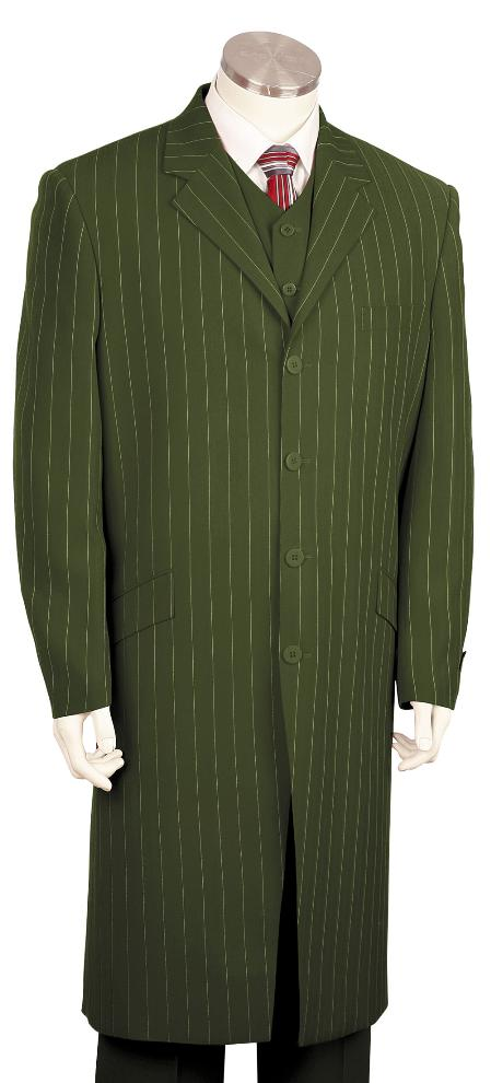 SKU#YR7128 Mens Bold Pronounce 3 Piece Fashionable Long Zoot Suit Olive, 45 Long Jacket EXTRA LONG JACKET Maxi Very Long $175