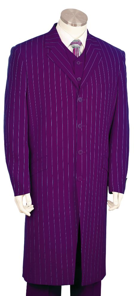 SKU#KV7183 Mens Bold Pronounce Fashionable Long Zoot Suit Purple,45 Long Jacket EXTRA LONG JACKET Maxi Very Long $250