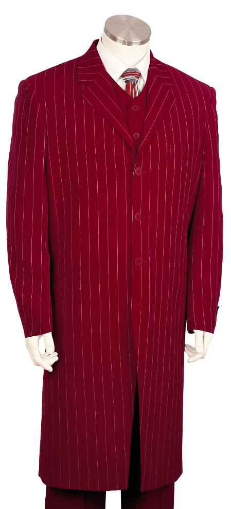 SKU#BR9100 Mens Bold Pronounce High Fashionable 3 Piece Long Zoot Suit Re,45 Long Jacket EXTRA LONG JACKET Maxi Very Long $225