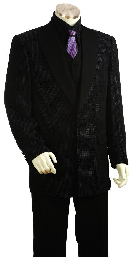 SKU#LB5619 Mens Black Blue 3 Piece Zoot Suit $225