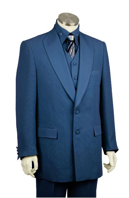 SKU#JD2810 Mens Luxurious 2 Button 3 Piece Zoot Suit Navy $225