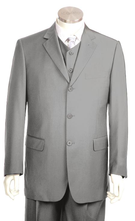 SKU#KG7124 Mens Luxurious 3 Button Zoot Suit Silver $175