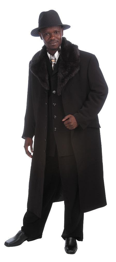 SKU#RK6140 Mens Luxurious Long Zoot Suit  Black $225