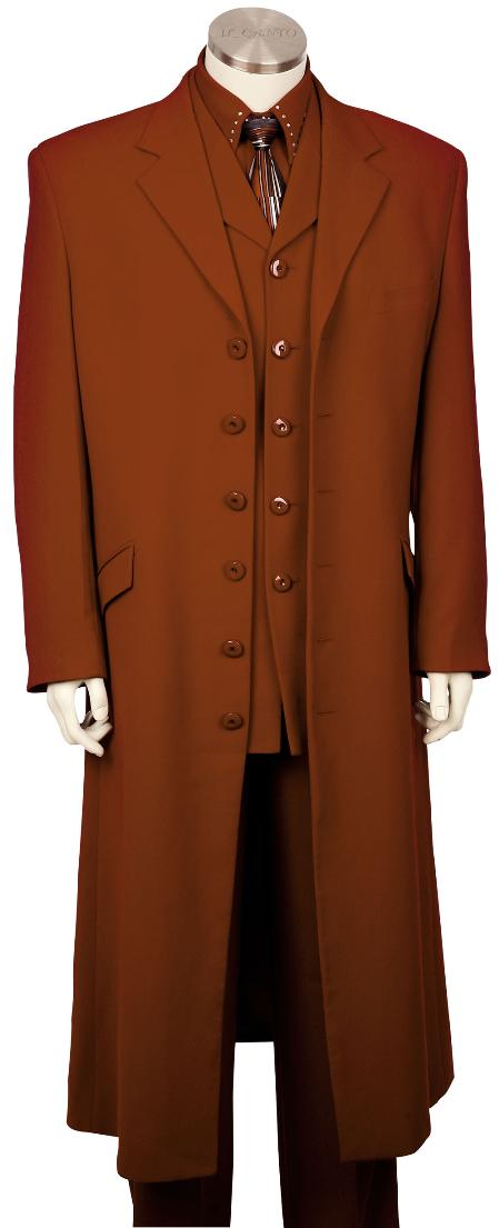 SKU#TS7810 Mens Fashionable 6 Button Long Zoot Suit Brown, 45 Long Jacket EXTRA LONG JACKET Maxi Very Long $189
