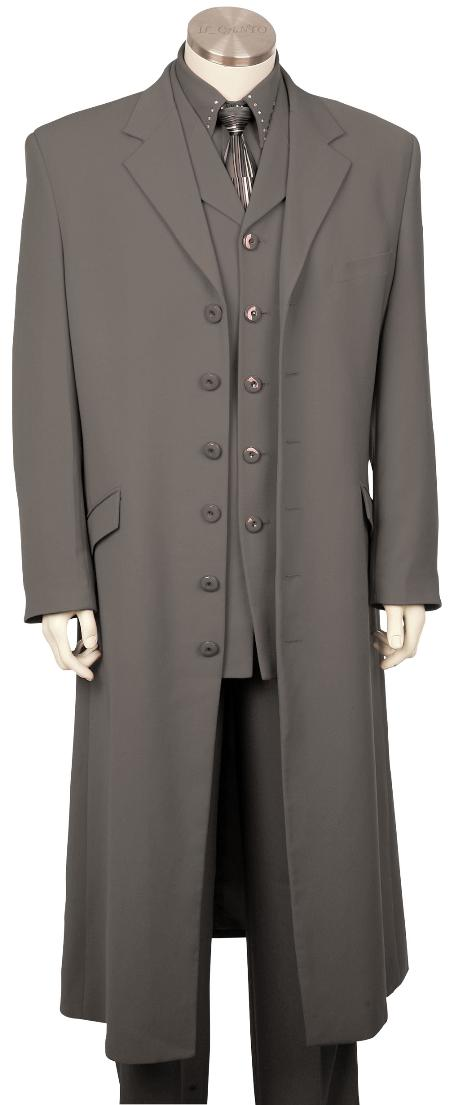 SKU#HD7814 Mens High Fashionable 3 Piece Long Zoot Suit Grey 45 Long Jacket EXTRA LONG JACKET Maxi Very Long $175