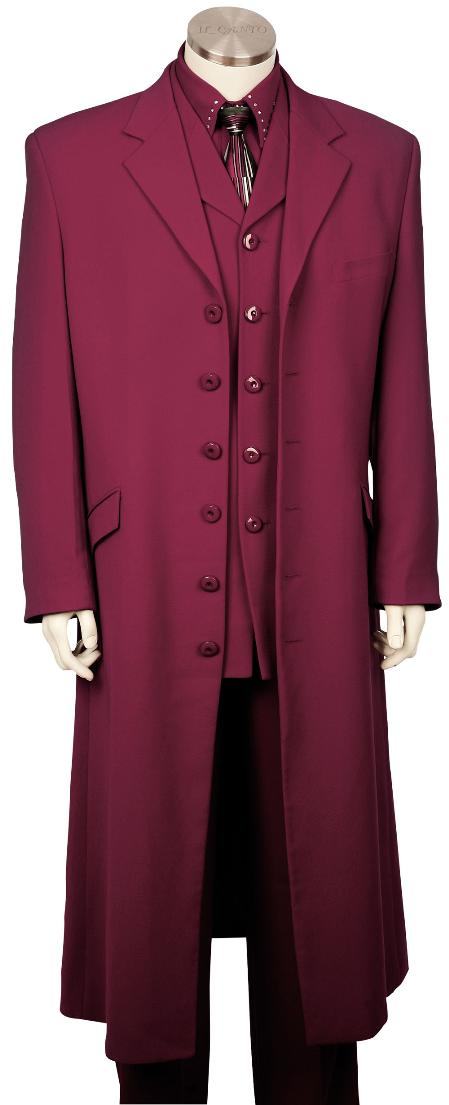 SKU#UG8126 Mens 3 Piece Fashionable Long Zoot Suit Violet 45 Long Jacket EXTRA LONG JACKET Maxi Very Long $175