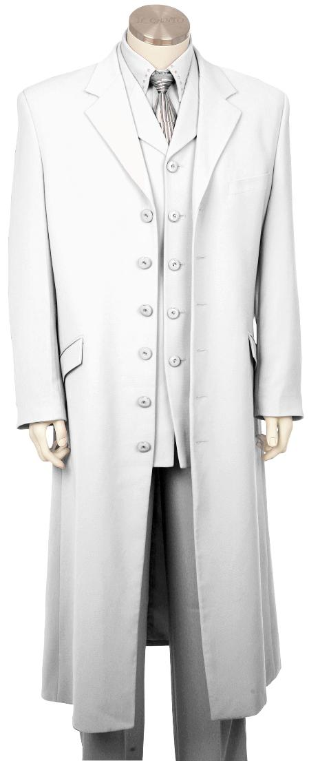 SKU#HW7190 Mens Stylish Long Zoot Suit + Shirt + Tie + Vest White 45 Long Jacket EXTRA LONG JACKET Maxi Very Long $225
