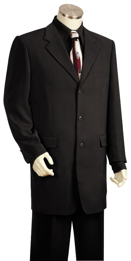 SKU#FJ5100 Mens Fashionable 3 Button Solid Black Zoot Suit