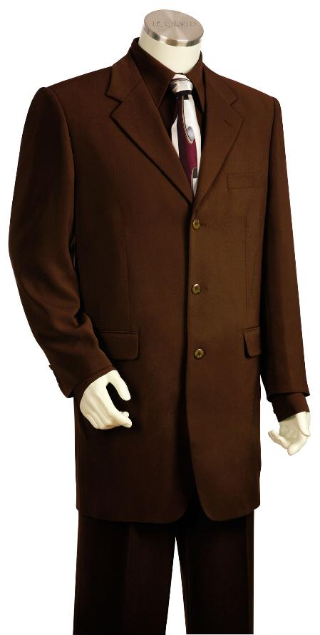 SKU#GQ8124 Mens Luxurious 3 Button Zoot Suit Brown $225