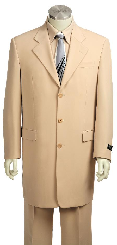 SKU#YJ9150 Mens Fashionable 3 Button Zoot Suit Taupe $175