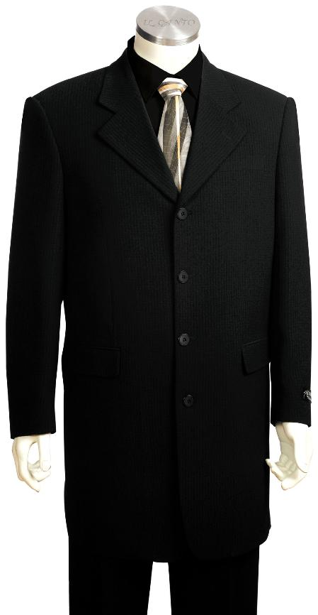 SKU#YH4517 Mens High Fashionable Solid Black 3 Button Zoot Suit $225
