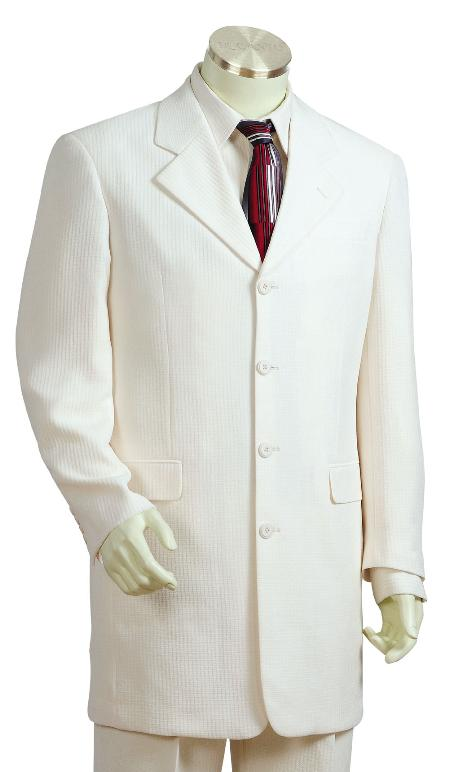 SKU#KQ7819 Mens Luxurious Off White 4 Button Zoot Suit $175