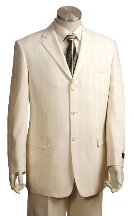 SKU#HY1820 Mens Off White Front Fashionable 3 Button Zoot Suit $175
