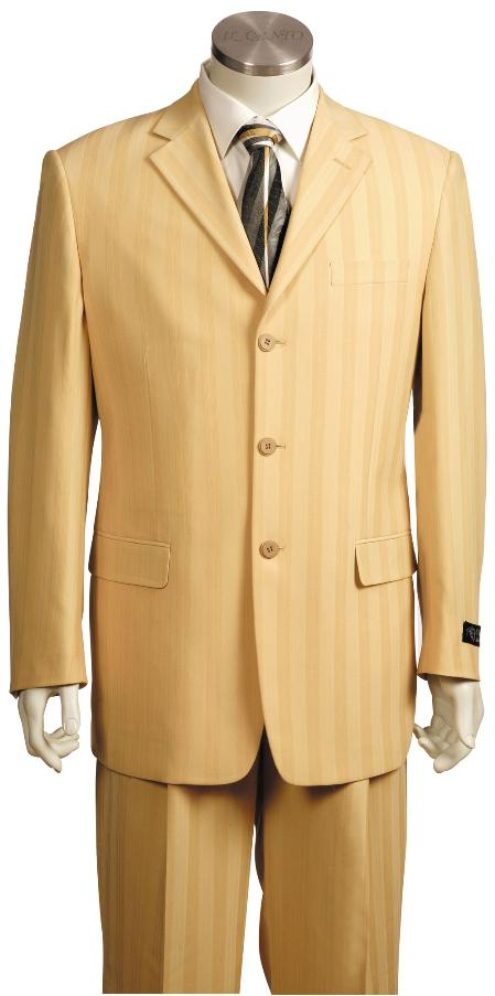 SKU#LR8719 Mens Fashionable 3 Button Zoot Suit Taupe $225