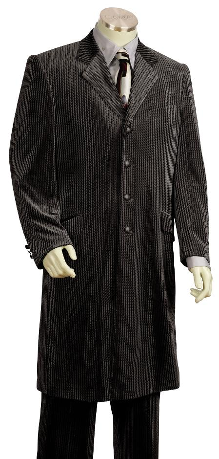 SKU#UF3467 Mens 4 Button Shiny Black Velvet Suit 45 Long Jacket EXTRA LONG JACKET Maxi Very Long $225