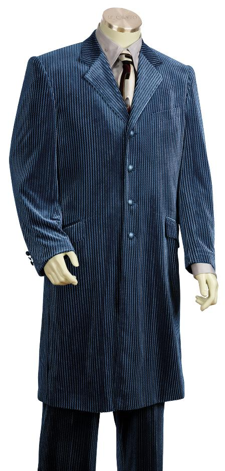 SKU#RF7615 Mens 4 Button Fashionable Long Velvet Suit Navy $225