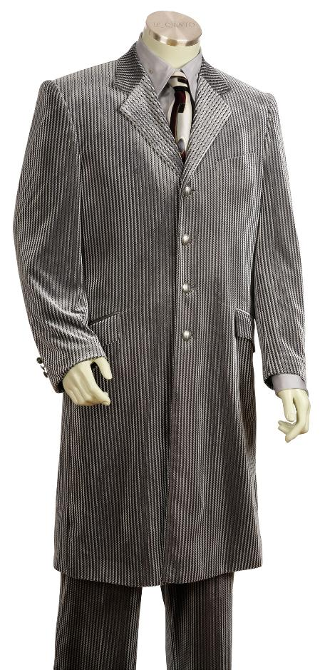 SKU#TQ6120 Mens Fashionable Long Velvet Suit Silver 45