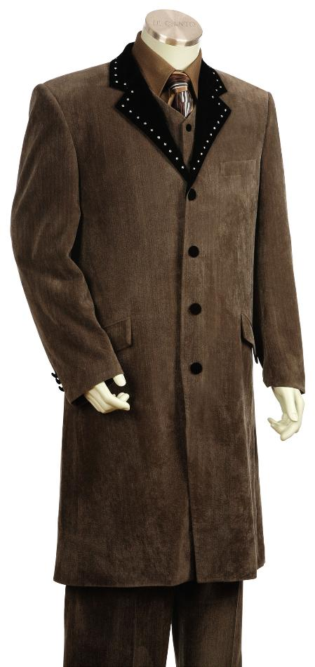 SKU#UF4519 Mens 4 Button Vested Fashion Velvet Suit Brown 45 Long Jacket EXTRA LONG JACKET Maxi V