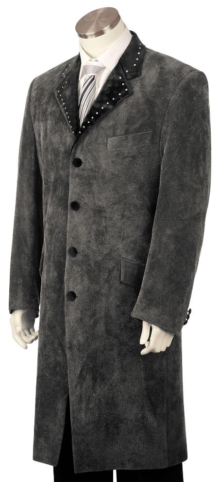 SKU#RK1920 Mens Stylish 4 Button Grey Long Zoot Suit,45