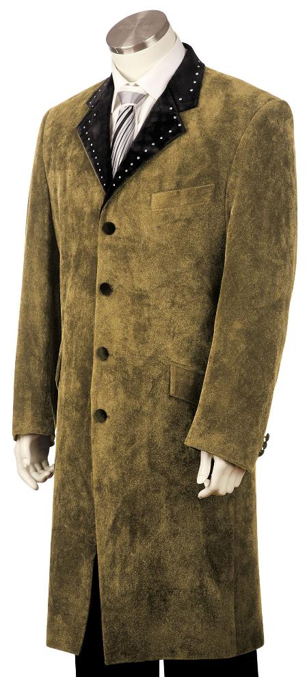 SKU#TF3452 Mens High Fashionable 4 Button Long Zoot Suit Taupe $225