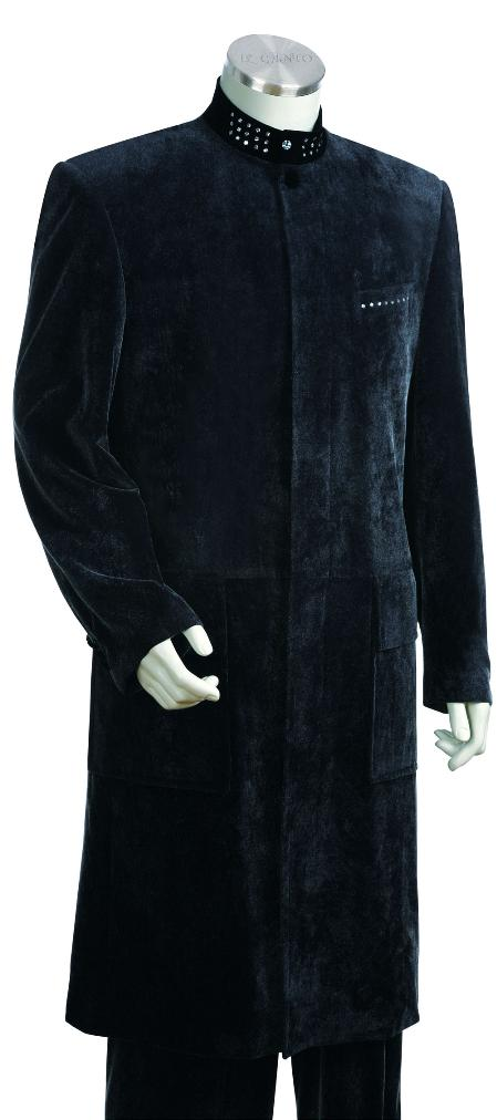 "Men's Navy Stylish Long Zoot Suit 45"" Long Jacket EXTRA LONG JACKET Maxi Very Long JG7126"