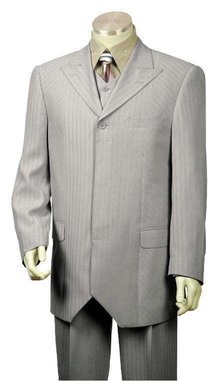 SKU#UF2315 Mens 1 Button Grey Fashion Vested Zoot Suit