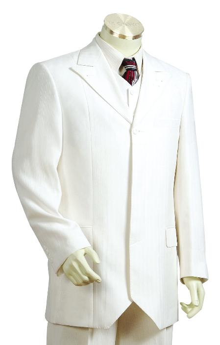 SKU#GY9810 Mens Offwhite 1 Button Vested Zoot Suit $250