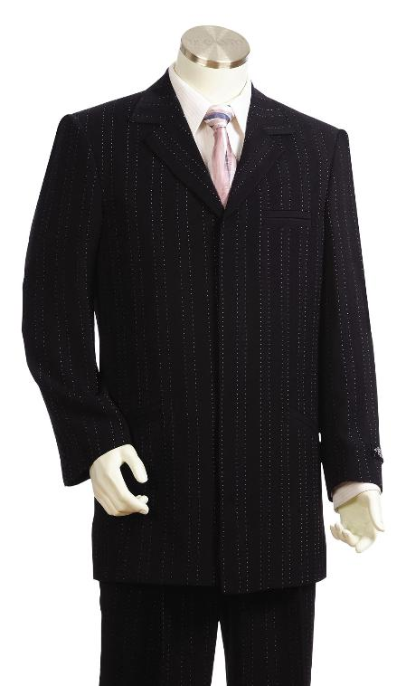 SKU#BT5534 Mens Fashionable Black Zoot Suit $175