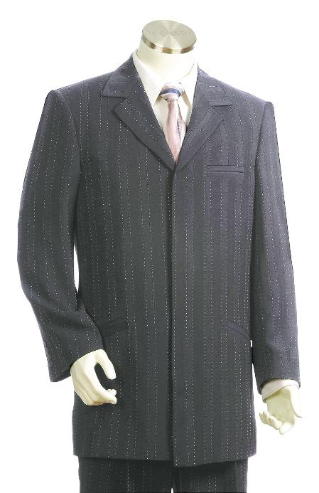SKU#JR6125 Mens Stylish Grey pinstripe Zoot Suit $175