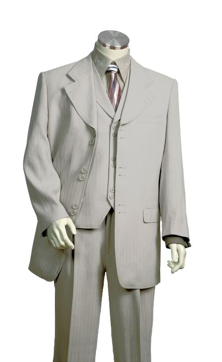 SKU#HC2317 Mens Vested Unique Exclusive Fashion Suit Grey $225