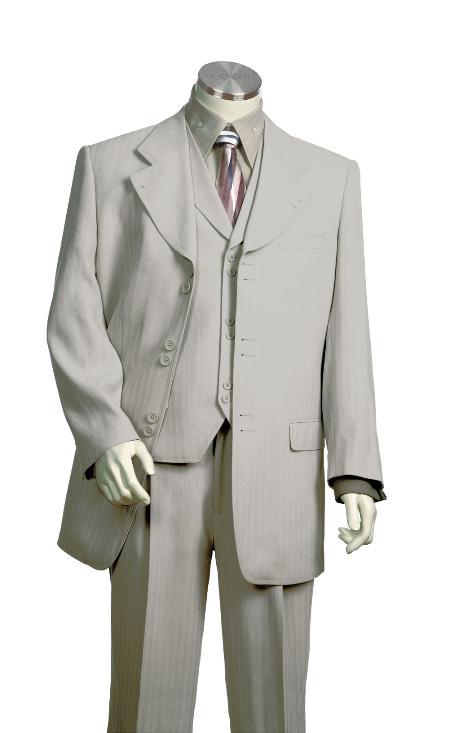 SKU#HC2317 Mens Vested Unique Exclusive Fashion Suit Grey $175