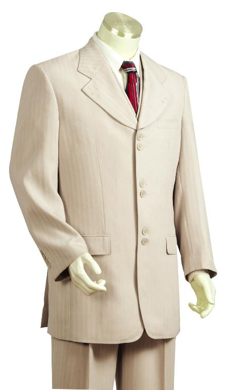 SKU#KA8120 Mens Taupe Fashion Vested Zoot Suit $175