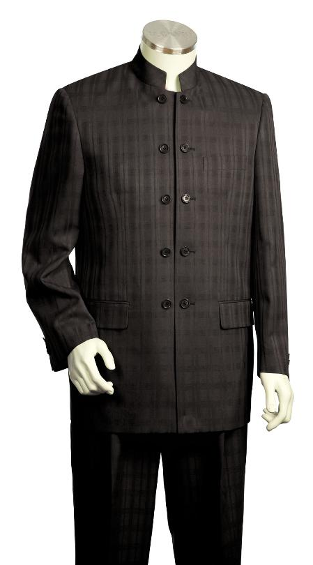 SKU#KF8137 Mens 5 Button Fashionable Black Zoot Suit $175