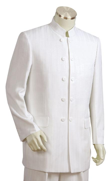 SKU#FG7721 Mens Fashionable 5 Button Offwhite Zoot Suit