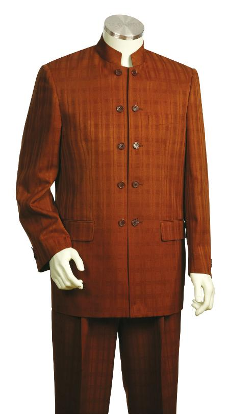 SKU#BG3425 Mens Stylish 5 Button Vested Rust Zoot Suit $175