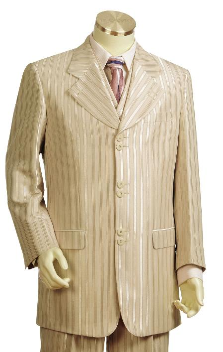 SKU#LF7868 Mens Taupe Fashion Vested Zoot Suit $225