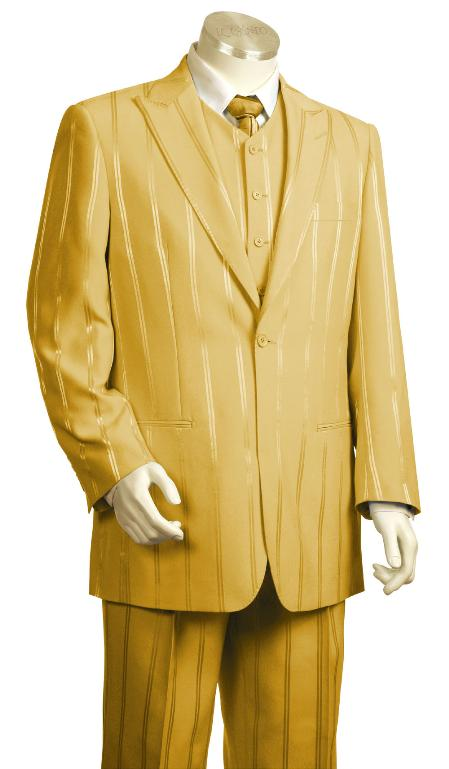 SKU#BT7754 Mens 3 Piece Vested Fashion Gold Zoot Suit $175