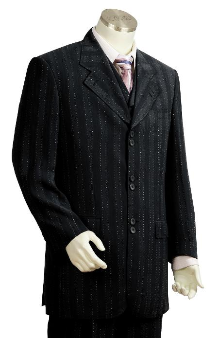 SKU#YH5638 Mens 3 Piece Black Unique Exclusive Fashion Suit $225