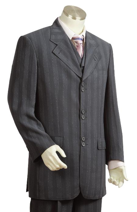 SKU#LD9300 Mens Fashion 3 Piece Vested Charcoal Zoot Suit
