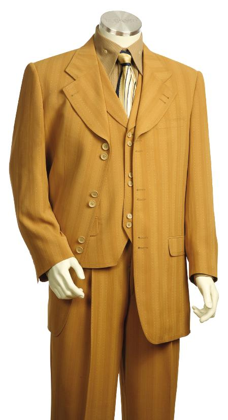 SKU#JF1249 Mens Fashionable 3 Piece Zoot Suit Gold $175