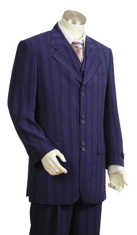 SKU#NV6729 Mens Stylish 3 Piece Vested Unique Exclusive Fashion Suit Navy $225
