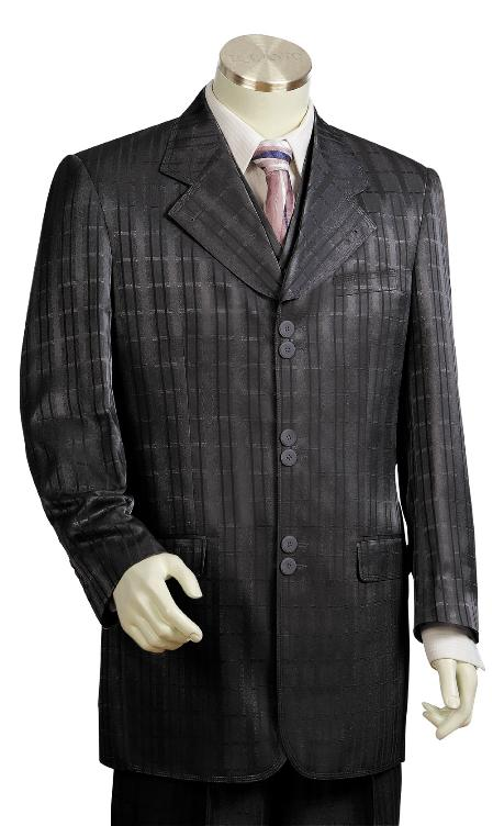 SKU#BD8710 Men's 3 Piece Vested Black Zoot Suit