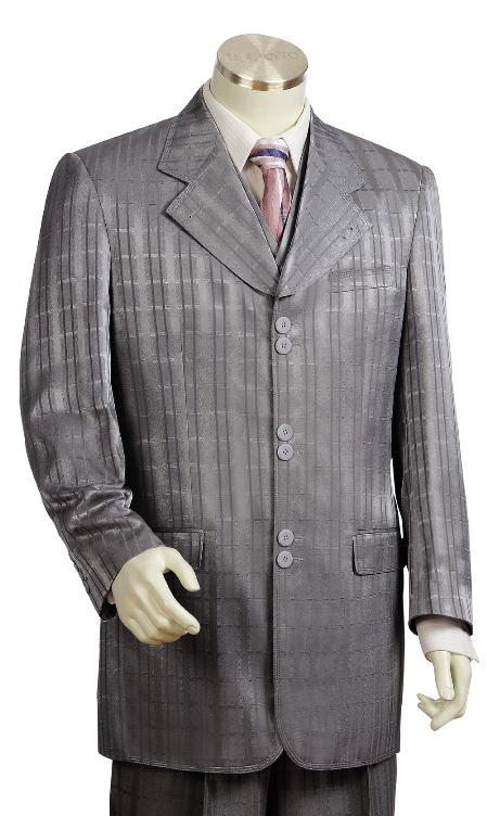 SKU#GK9100 Mens 3 Piece Grey Unique Exclusive Fashion Suit $225